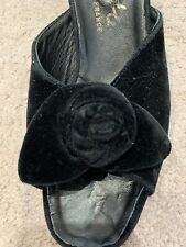 True Vtg Black Velvet Boudoir Slippers High-Heel Made In France