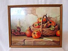 """STILL LIFE with APPLES"" FRAMED Picture PRINT ROBERT CHAILLOUX 11 x 14"