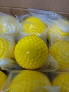 Yellow Dimpled Baseballs (One Dozen) Training Ball Pitching Machine - NEW