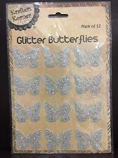 NEW - GLITTER BUTTERFLIES- SILVER - PACK OF 12