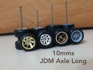4 Sets CUSTOM WHEELS Hot Wheels 1/64 Rubber Wheels JDM Long 10mm 4 Design