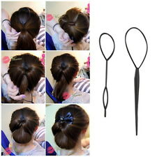 Ponytail Creator Plastic Loop Styling Tools Black Topsy Pony Tail Hair Braid #Q