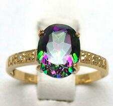 SYJEWELLERY 9CT YELLOW GOLD NATURAL OVAL MYSTIC TOPAZ & DIAMOND RING SIZE N R931