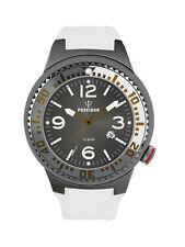 POSEIDON Unisex-Armbanduhr L Analog Silikonband UP00409 Weiß/Grau UVP 139,- €