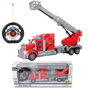 1:15 Remote Control RC Fire Truck W/ Extendable Ladder Lights Kids Toy Xmas Gift