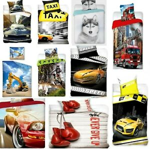 100% Cotton Duvet Cover Set  Kids Boys Teenagers Single Bed Quilt Cars Bedding