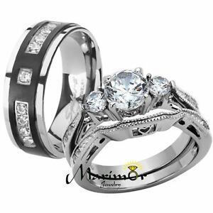 Her & His Stainless Steel Wedding & Engagement Ring & Titanium Wedding Band Set