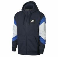 New Nike Mens Air Fleece Full Zip Blue Hoodie 928629 063 Size Large