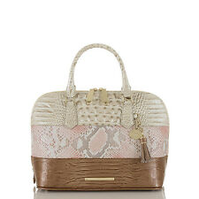 Brahmin Vivian Genuine Leather Domed Satchel (Pink Madera)