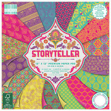 LOT 16 FEUILLE CARDSTOCK STORYTELLER PAPIER MULTICOLORE INDOU INDIEN 30X30CM NEW