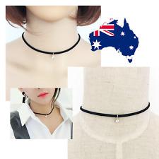 Rhinestone Velvet Charm Black Faux Suede Cord String Wrap Bolo Choker Necklace
