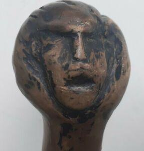 Burl Wood Cane Walking Stick CARVED Head Face FOLK ART PRIMITIVE ANTIQUE MAN