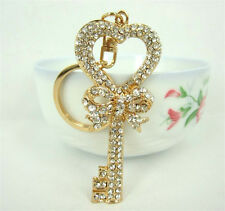 Key Heart Butterfly Lovely Fashion Rhinestone Crystal Pendent Charm Key Chain