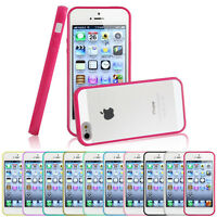 CLEAR HARD BACK SILICON TPU BUMPER COVER CASE FOR iPHONE 5 5S FREE SCREEN GUARD