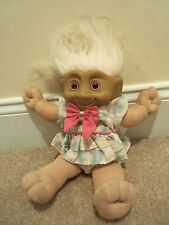 Vintage Lrg Girl Treasure Troll in Pretty Floral Dress~Soft Body~White Hair~Nice