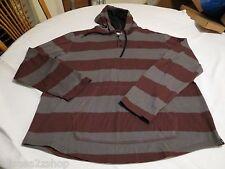Hurley hoodie hoody burgundy grey shirt long sleeve hooded button small S Men's