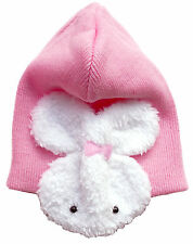 Cotton Baby Hat Warm double Lined + Bunny Ear Muffs 6 - 12 months