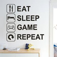 1X Eat Sleep Game Repeat Wall Sticker Removable Decal Mural Bedroom Home Decor
