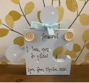 Personalised Wooden Grandad Puzzle Piece, We Love Grandad Fathers Birthday Gift