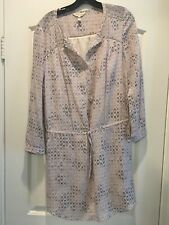$395 Rebecca Taylor Long Sleeve Box Step Silk Dress Size 6 Blush and Grey