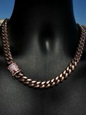 "Men's Cuban Miami Link 20"" Choker Chain 14k Rose Gold Over Stainless Steel 12mm"