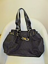 DKNY Black Fabric Large Shoulder Tote Bag Monogram Donna Karan New York