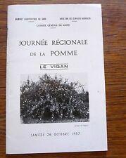Pomologie arboriculture fruitière JOURNÉE RÉGIONALE DE LA POMME  LE VIGAN 1957