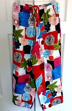 Hot Cotton Pants Floral Beach Cruise Elastic Waist Linen Medium NWOT
