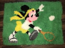 """Vintage Minnie Mouse Tennis Latch Hook Rug Wall Hanging Bright Colors 20""""x26"""""""