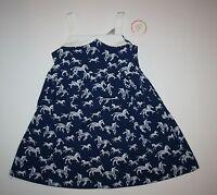 New Gymboree Blue Safari Zebra Dress NWT 2T 3T 4T 5T White Pom Pom Trim Summer