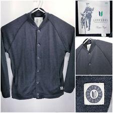 Linksoul Mens Large Button Up Sweater Cardigan Jacket Black