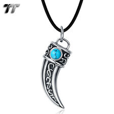 TT 316 Stainless Steel Spear Pendant Necklace With Blue Turquoise (NP304F) NEW