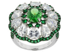 Russian Chrome diopside White Topaz Flower Rarities Silver Ring White Gold Over