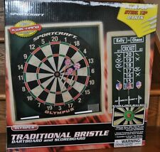 Sportcraft Olympus Traditional Bristle Dartboard & Scoreboard 6 Steel Darts NEW