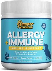 Allergy Immune Supplement for Dogs, Relief Immunity w/ Salmon Fish Oi Probiotics