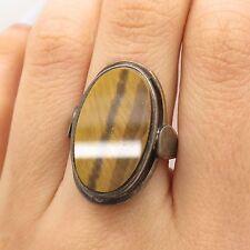 Vtg 925 Sterling Silver Large Real Tiger Eye Gemstone Handmade Ring Size 7.5