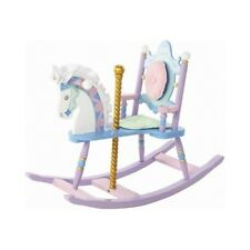 Rocking Carousel Horse Wood Rocker Chair Painted Kids Toddler Girls Toys Padded