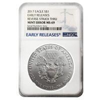 2017 1 oz Silver American Eagle NGC MS 69 ER Mint Error (Reverse Struck Thru) #1