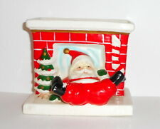 Vtg Christmas Santa Tumbles Down Fireplace Figurine Planter Ceramic Lego Japan