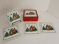 Himark Christmas 4 Pc Coaster Set with Red Wooden Box Red & Green House & Tree
