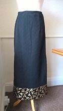 Jayar vintage 60s black crimplene maxi skirt with gold clover pattern VGC UK 6 8