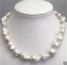 Natural White Baroque Genuine Pearl Necklace Huge Large 15-23mm Silver clasp
