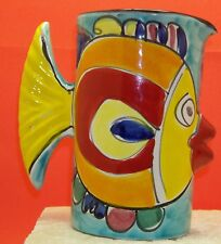 "Hand-Painted Italian Pottery ""kiss fish"" Pitcher by Desuir Vietri"