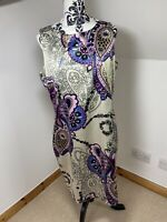 M & Co Satin Mushroom Pencil Dress Size 16 Paisley Floral