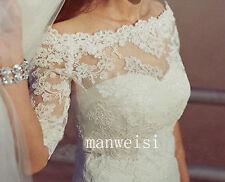 New Bridal Bolero White Ivory Lace Wedding Jackets top Off Shoulder Short Sleeve