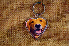 Golden Retriever Gift Keyring Dog Key Ring heart  Birthday Gift Golden Retriever
