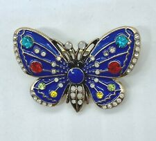 Silver Plated Blue Enamel & Crystal Butterfly Brooch New