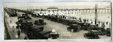 GALVESTON, TEXAS Pier w CARS, People, Water Vtg Old 1920s Panoramic PHOTO