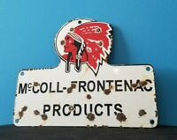 VINTAGE RED INDIAN MCCOLL FRONTENAC PORCELAIN NATIVE AMERICAN SERVICE SIGN