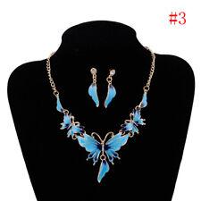 Lady Butterfly Pendant Choker Chunky Statement Bib Necklace Earrings Jewelry Set